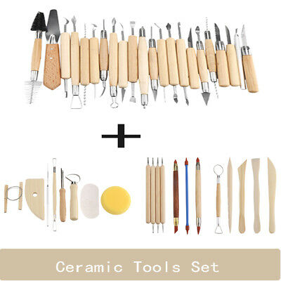 42Pcs Art Pottery Sculpting Tools Set Clay Carving Modeling Tool Wooden Handle