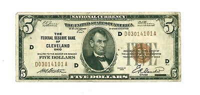 1929 $5 Federal Reserve Bank Cleveland Ohio Note Fr #1850-D Us Small Size - Vg