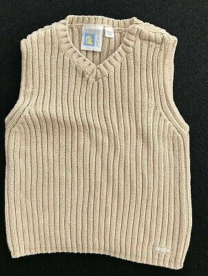 Boys Knitted Vest Sand Colour Size 2