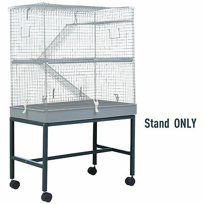 PawHut Pet Rolling Stand Cage Holder Trolley Steel Grey 69.5Lx42Wx44.5H