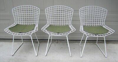 Lot 3 vintage original Knoll Bertoia wire side chairs white seat pads Eames
