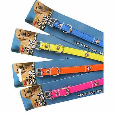 Strong Dog PU Leather BRIGHT Dogs Collar, Adjustable Collars Two Size PAW design