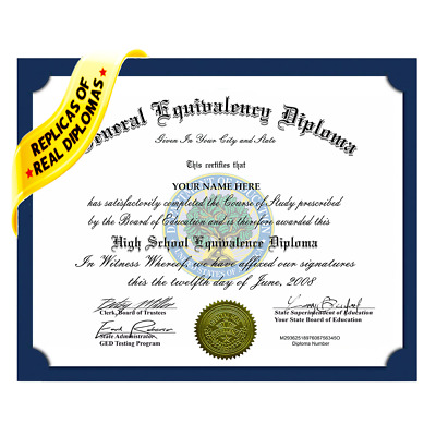 Fake GED High School Diploma Novelty Replica Diplomas Authentic Layouts