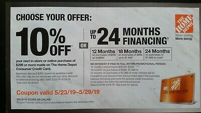 Home Depot 10% off coupon valid 5/23/19 thru 5/29 Online or in store 3 Day Auctn
