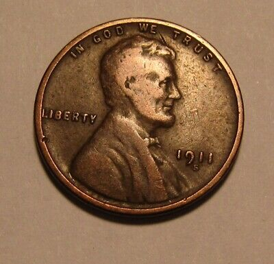 1911 S Lincoln Cent Penny - Fine Condition - 5FR