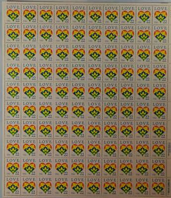Us Scott 2248 Pane Of 50 Love Heart Stamps 22 Cent Face  Mnh