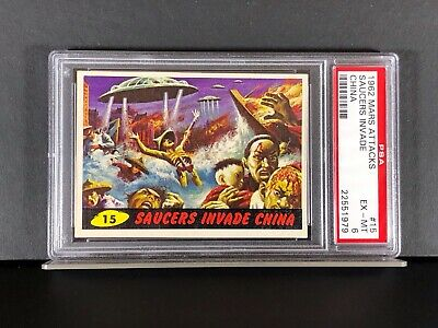 1962 Mars Attacks #15 - SAUCERS INVADE CHINA - PSA 6 EX-MT