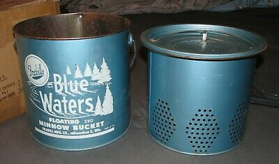 Vintage Frabill's Blue Waters Floating 220 Minnow Bucket 2 Piece