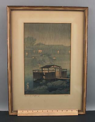 1933 Antique Signed Hasui Kawase Rain at Shuzenji-Ji Japanese Woodblock Print