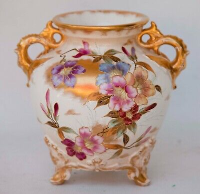 Antique Double Fish Handle Victorian Vase Footed Hand Painted Gold/Rose
