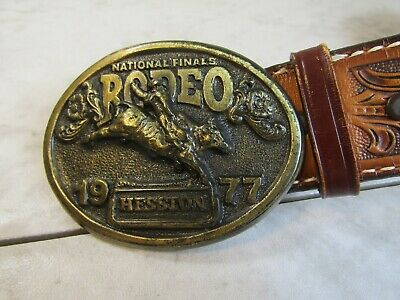 Vintage National Finals Rodeo Hesston 1977 NFR Cowboy Leather Belt and Buckle