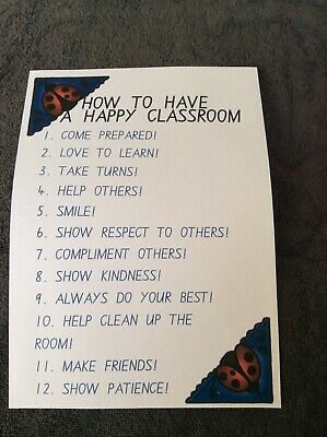 Teacher Resource Classroom Poster HAVE A HAPPY CLASSROOM Primary Infants High BN