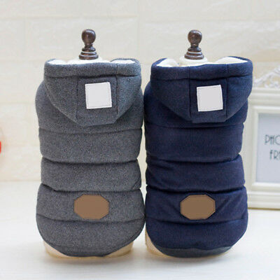 Pet Dog Cat Winter Warm Hoodie Padded Coat Pullover Vest Jacket Clothes Apparel
