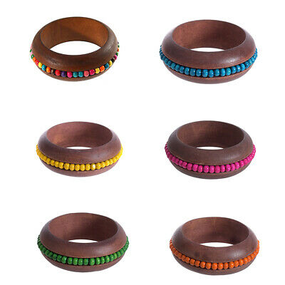 Wooden Bangles Bohemian Ethnic 7 Colors Beads Bracelets for Women Party Gifts