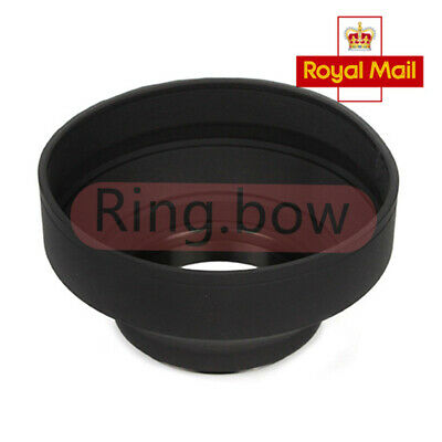 Three-in-one 55mm Collapsible Rubber Lens Hood for Canon Pentax DSLR Camera UK