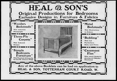 1902 Antique Print Advertisement  -  Heal Sons Furniture Designs Fabrics  (119)