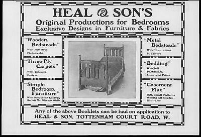 1902 Antique Print Advertisement  -  Heal Sons Furniture Designs Fabrics  (99)