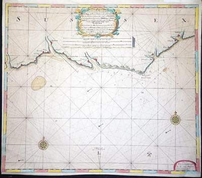 c1700 Large Antique Sea Chart - SUSSEX SEA CHART COASTS Hastings Arundel  (LM4)