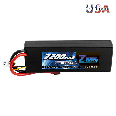 Zeee 7200mAh 80C 2S 7.4V Lipo Battery Deans Plug Hardcase for RC Car Truck Boat