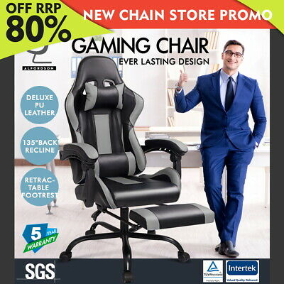 ALFORDSON Gaming Office Chair Executive Racing Footrest Seat PU Leather Grey