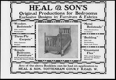 1902 Antique Print Advertisement  -  Heal Sons Furniture Designs Fabrics  (107)