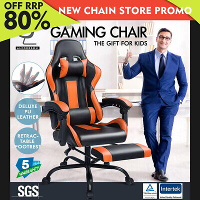 ALFORDSON Gaming Office Chair Executive Racing Footrest Seat PU Leather Orange