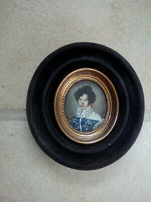 Miniature portrait on copper of a young 19thc Italian boy ANTIQUE OIL PAINTING.