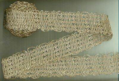 Antique Vintage Silver Zari Heavy 9 feet Long Metallic Lace Trim ~Free Shipping