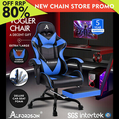 ALFORDSON Gaming Chair Office Executive Racing Footrest Seat PU Leather Blue