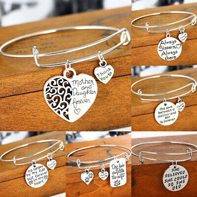 Silver Wire Bangle Charm Bracelet Womens Jewellery Family Mum Sister Daughter