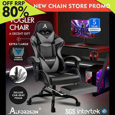 ALFORDSON Gaming Chair Office Executive Racing Footrest Seat PU Leather