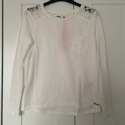 Womens Superdry White Lace Long Sleeve Top, New With Tags, Size XXS