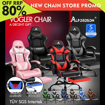 ALFORDSON Gaming Chair Office Executive Racing Footrest Seat PU Leather VOGLER