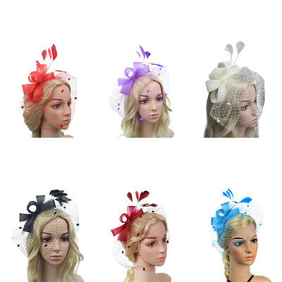 Women Lady Hair Clip Facinator Feather Headwear Mesh Cocktail Wedding Party Hat