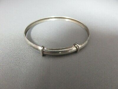 Vintage Solid Silver Expanding Baby Bangle. Christening.  xdd