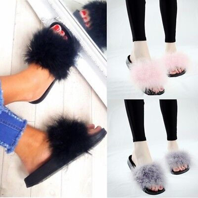 Womens Flat Fur Fluffy Sliders Slippers Comfy Sandals Flip Flop Casual Shoes New