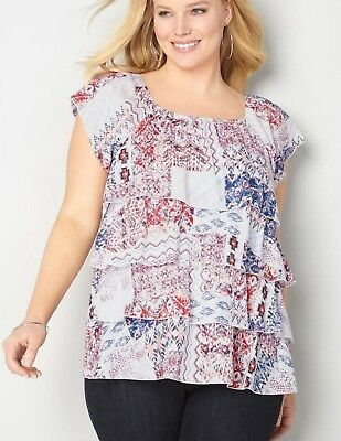 Womens Plus Size 22/24 3X COTTON OFF THE SHOULDER TIERED Top AVENUE Retail $55