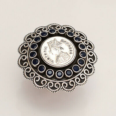 Real Black Onyx Victorian Queen Coin Ring 925 Sterling Silver Statement Jewelry