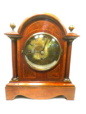 1885 English Fusee Bracket Clock With Full Column & Extensively Inlaid Case