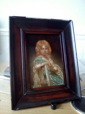Miniature portrait of a young girl, expert help required, ANTIQUE OIL PAINTING.
