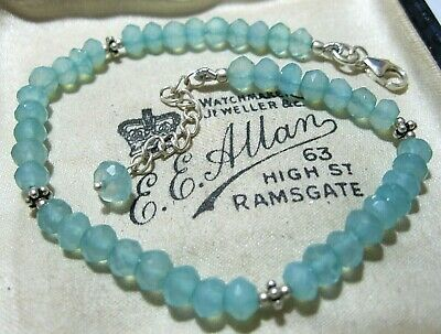 Gorgeous Vintage Style Jewellery Solid Silver Real Blue Aqua Chalcedony BRACELET