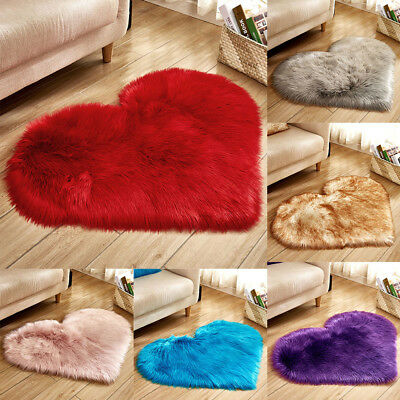Love Heart Shaped Shaggy Fluffy Rugs Anti-Skid Area Rug Carpet Bedroom Floor M0