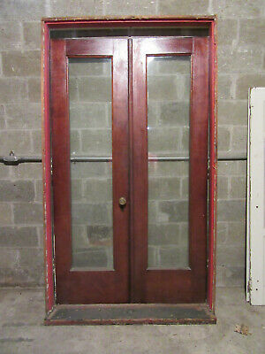 ~ Antique Mahogany Double Entrance French Doors With Frame ~ 48 X 82 ~ Salvage