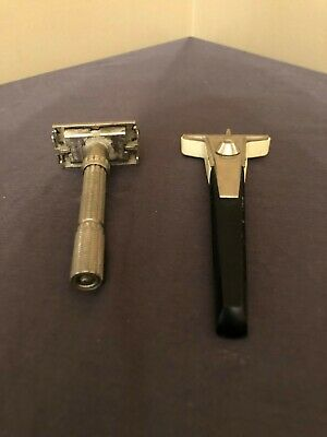 Lot of 2 Gillette Safety Razor Adjustable Techmatic 1-9 Dial K2