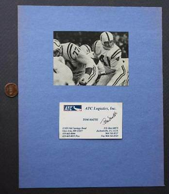 1961-72 Baltimore Colts Tom Matte Signed/Autographed business card & photo set!*