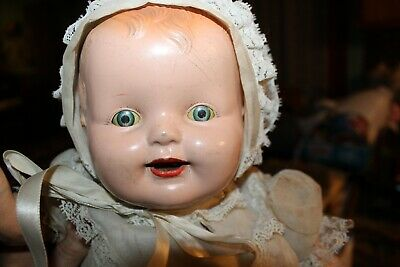 "Vtg Composition Girl Sleepy Eye Antique Teeth Doll Dress Hair 18"" Dolls Composition"
