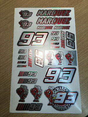 93 Marc Marquez Stickers set sheet of 27 silver Motorcycle GP size 225 x 130mm