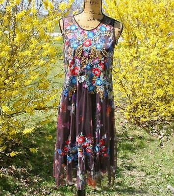b538acfde $278 JOHNNY WAS Greidon Maxi Long Dress Blue Floral Sleeveless Sz Xs ...