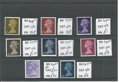 1967 pre decimal machins with Missing Phosphor MNH