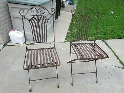Pair Of Wrought Iron Folding Chairs Heavy Art Deco